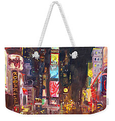 Nyc Times Square Weekender Tote Bag by Ylli Haruni