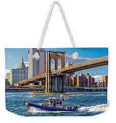 Nypd On East River Weekender Tote Bag