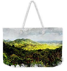 Weekender Tote Bag featuring the digital art Oahu Landscape by Kai Saarto