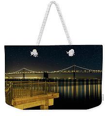 Oakland Bay Bridge By The Pier In San Francisco At Night Weekender Tote Bag
