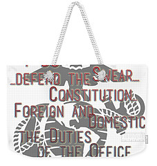 Weekender Tote Bag featuring the mixed media Oath by TortureLord Art
