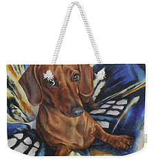 Weekender Tote Bag featuring the painting Dachshund Time Lord by Kim Lockman