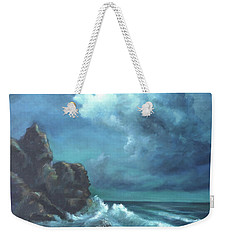 Weekender Tote Bag featuring the painting Seascape And Moonlight An Ocean Scene by Katalin Luczay