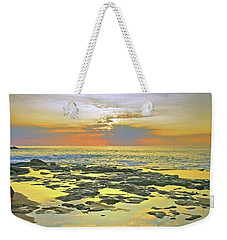 Weekender Tote Bag featuring the photograph Ocean Puddles At Sunset On Molokai by Tara Turner