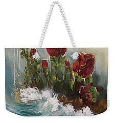 Weekender Tote Bag featuring the painting Ocean Rose by Miroslaw  Chelchowski