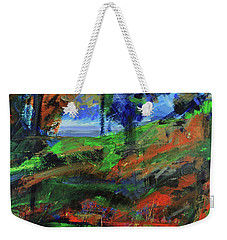 Weekender Tote Bag featuring the painting Ocean View Through The Forest by Walter Fahmy