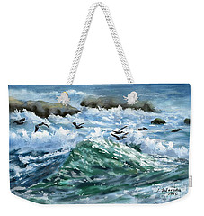 Ocean Waves And Pelicans Weekender Tote Bag