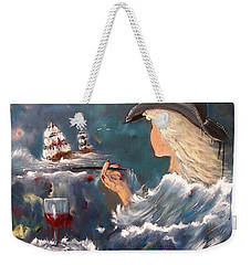 Weekender Tote Bag featuring the painting Ocean Wine by Miroslaw  Chelchowski