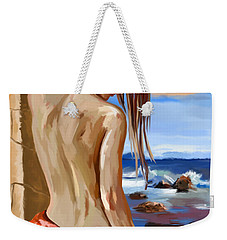Weekender Tote Bag featuring the painting Oceanview by Tim Gilliland