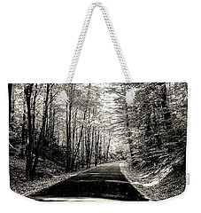 Weekender Tote Bag featuring the photograph October Grayscale  by Kendall McKernon
