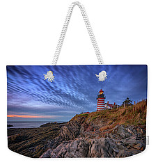 Weekender Tote Bag featuring the photograph October Sky At West Quoddy Head Light by Rick Berk