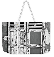 Weekender Tote Bag featuring the photograph Odd Pair - Shutters by Nikolyn McDonald