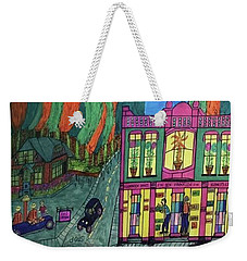 Weekender Tote Bag featuring the drawing Oddfellows Building. Historical Menominee Art. by Jonathon Hansen