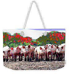 Weekender Tote Bag featuring the mixed media Off To The Market by Charles Shoup