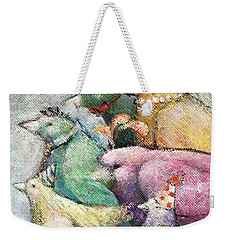 Weekender Tote Bag featuring the painting Off To The Party by Eleatta Diver