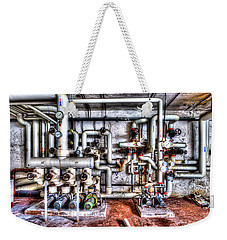 Weekender Tote Bag featuring the photograph Office Building Pump Room - Sala Pompe Palazzo Abbandonato by Enrico Pelos