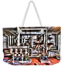 Weekender Tote Bag featuring the photograph Office Building Pump Room - Sala Pompe Palazzo Abbandonato Paint by Enrico Pelos