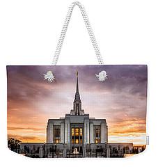 Ogden Lds Temple Sunset Weekender Tote Bag
