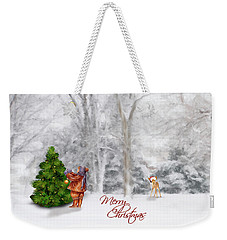 Weekender Tote Bag featuring the photograph Oh Christmas Tree Greeting by Mary Timman