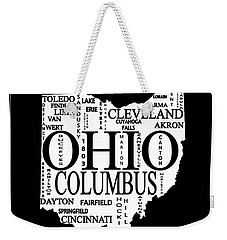 Weekender Tote Bag featuring the mixed media Ohio City Typography Map by Dan Sproul