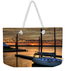 Weekender Tote Bag featuring the photograph Ohio River Sailing by Deborah Klubertanz