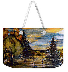 Weekender Tote Bag featuring the painting Ohio Sunset by Mindy Newman