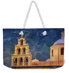 Weekender Tote Bag featuring the photograph Oia Sunset Imagined by Lois Bryan