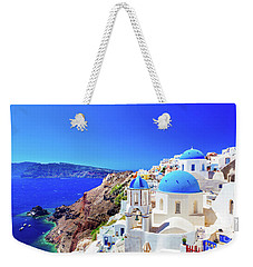 Oia Town On Santorini Island, Greece. Caldera On Aegean Sea. Weekender Tote Bag
