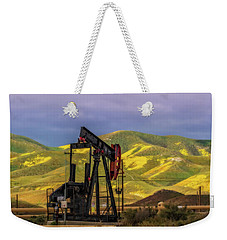 Weekender Tote Bag featuring the photograph Oil Field And Temblor Hills by Marc Crumpler