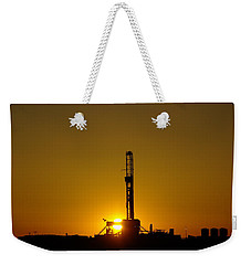 Oil Rig Near Killdeer In The Morn Weekender Tote Bag by Jeff Swan