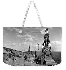 Weekender Tote Bag featuring the photograph Oil Well, Wyoming, C1910 by Granger