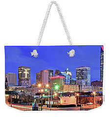 Weekender Tote Bag featuring the photograph Okc Blue Evening by Frozen in Time Fine Art Photography