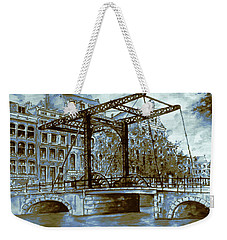 Old Amsterdam Bridge - Dutch Blue Water Color Weekender Tote Bag