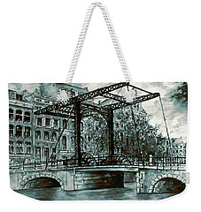 Old Amsterdam Bridge In Dutch Blue Water Colors Weekender Tote Bag