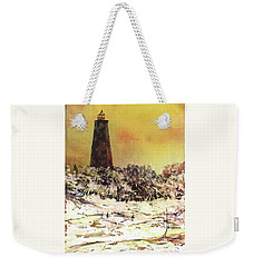 Weekender Tote Bag featuring the painting Old Baldy Lighthouse- North Carolina by Ryan Fox