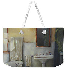 Weekender Tote Bag featuring the painting Old Bathtub by Diane DiMaria