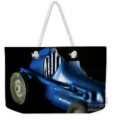 Old Blue Toy Race Car Weekender Tote Bag by Wilma Birdwell