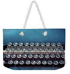 Weekender Tote Bag featuring the photograph Old Blue Typewriter by Edward Fielding