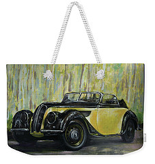 Old Bmw Yellow Car Painted On Leatheder, Vintage 1938 Weekender Tote Bag by Vali Irina Ciobanu