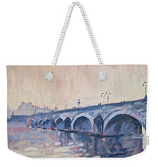 Weekender Tote Bag featuring the painting Old Bridge Of Maastricht In Warm Diffuse Autumn Light by Nop Briex