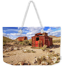 Weekender Tote Bag featuring the photograph Old Caboose At Rhyolite by James Eddy