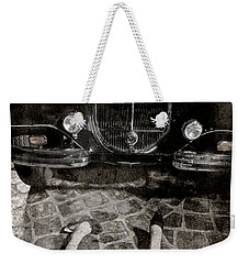 Weekender Tote Bag featuring the photograph Old Car And The Girl. by Andrey  Godyaykin