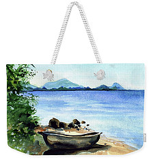 Weekender Tote Bag featuring the painting Old Carved Boat At Lake Malawi by Dora Hathazi Mendes