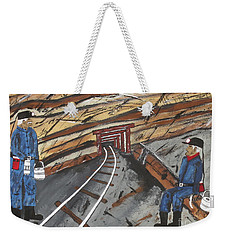 Weekender Tote Bag featuring the painting  Coal Miners by Jeffrey Koss