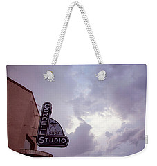 Weekender Tote Bag featuring the photograph Old Cordell Photo Studio by Toni Hopper