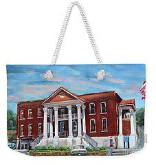 Weekender Tote Bag featuring the painting Old Courthouse In Ellijay Ga - Gilmer County Courthouse by Jan Dappen