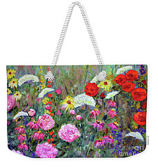 Weekender Tote Bag featuring the painting Old Fashioned Garden by Claire Bull