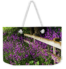 Old Fence And Purple Flowers Weekender Tote Bag
