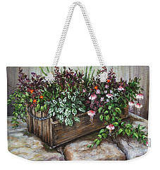 Weekender Tote Bag featuring the painting Old Flower Box by Kim Lockman