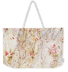 Weekender Tote Bag featuring the photograph Old Flowered Wallpaper by Sue Smith